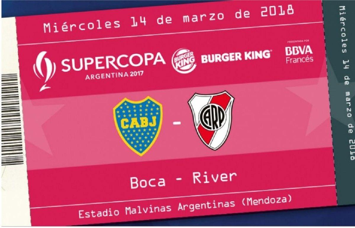 Este es el flyer de las entradas de la Supercopa Argentina 2018