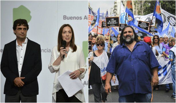 Hernán Lacunza, María Eugenia Vidal y Roberto Baradel