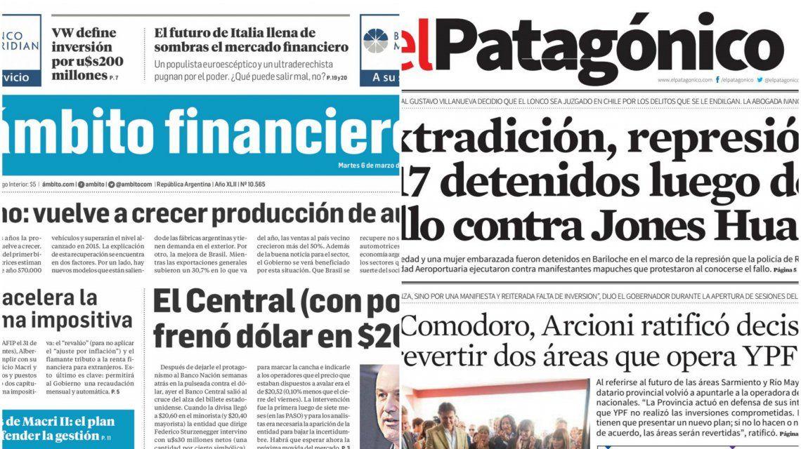 Tapas de diarios del martes 6 de marzo de 2018