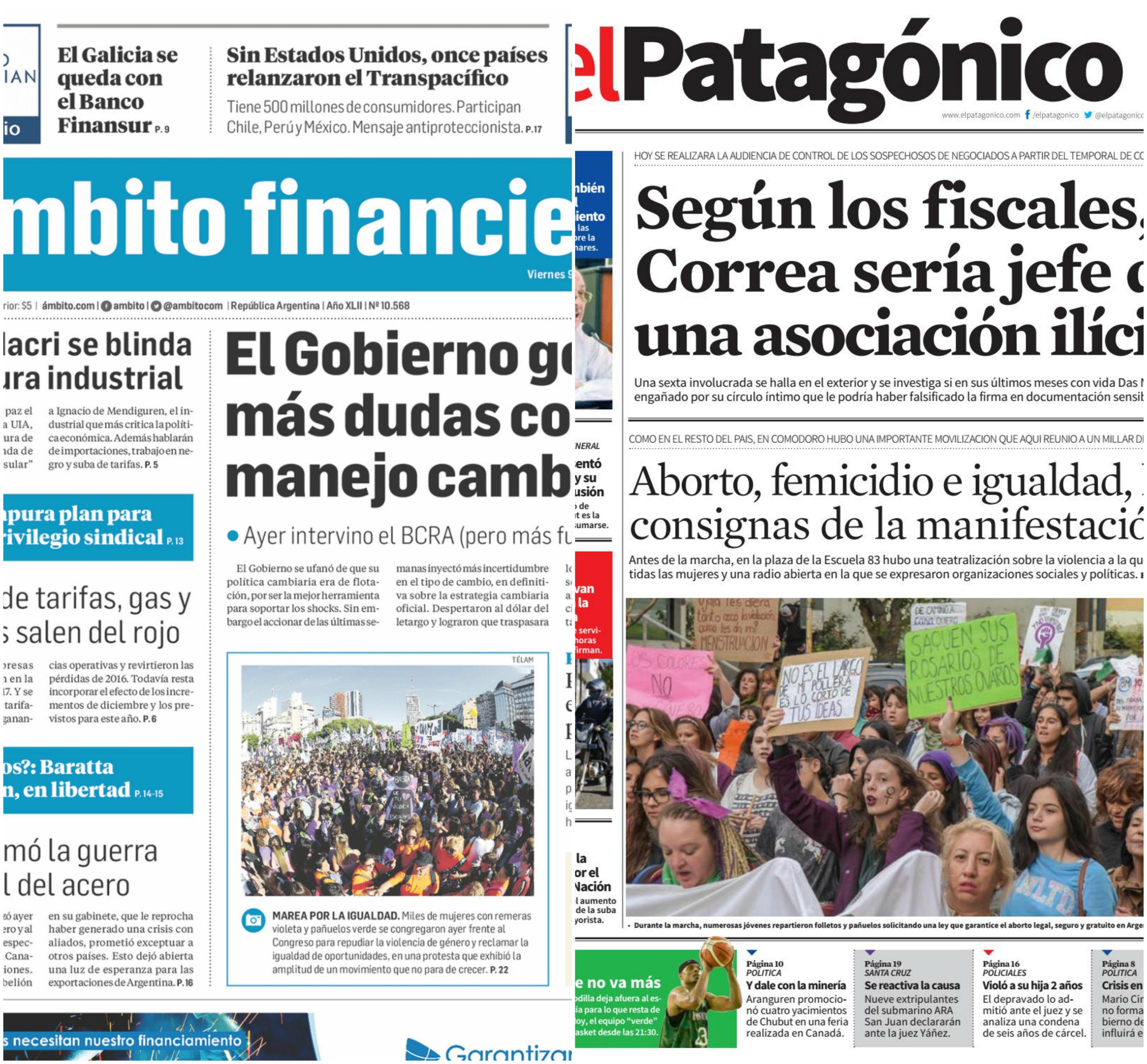 Tapas de diarios del viernes 9 de marzo de 2017
