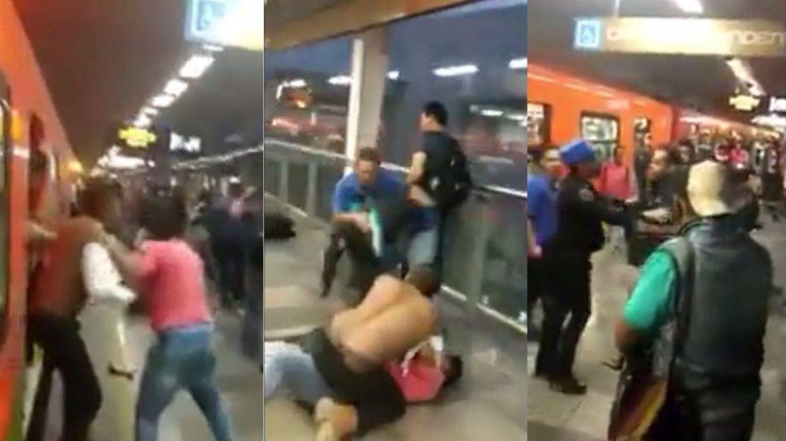 Brutal pelea en el subte de México
