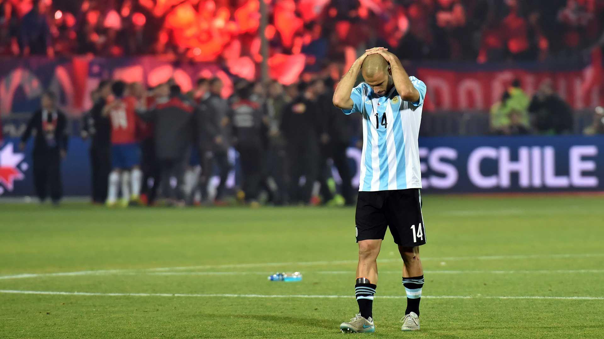 Javier Mascherano llorando en la final de la Copa América 2015