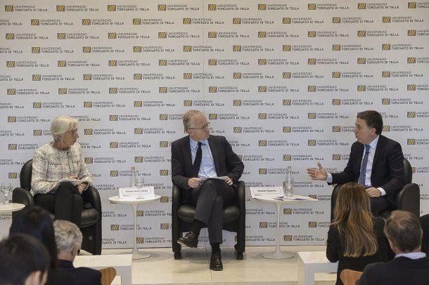 La directora gerente del Fondo Monetario Internacional (FMI), Christine Lagarde, junto con el ministro de Hacienda, Nicolás Dujovne.