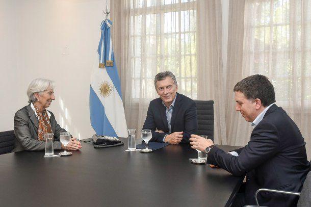 Christine Lagarde, Mauricio Macri y Nicolás Dujovne