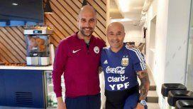 Guardiola y Sampaoli, con ropa de entrenamiento