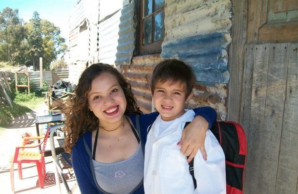 Arena y su hijo, que hoy tiene 10 años