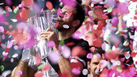 Juan Martín del Potro se consagró campeón del torneo de ATP Master de Indian Wells, superando en tres sets al suizo Roger Federer.