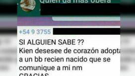 Ofreció a su bebé en un grupo de WhatsApp: Si alguien desea adoptar que se comunique a mi número