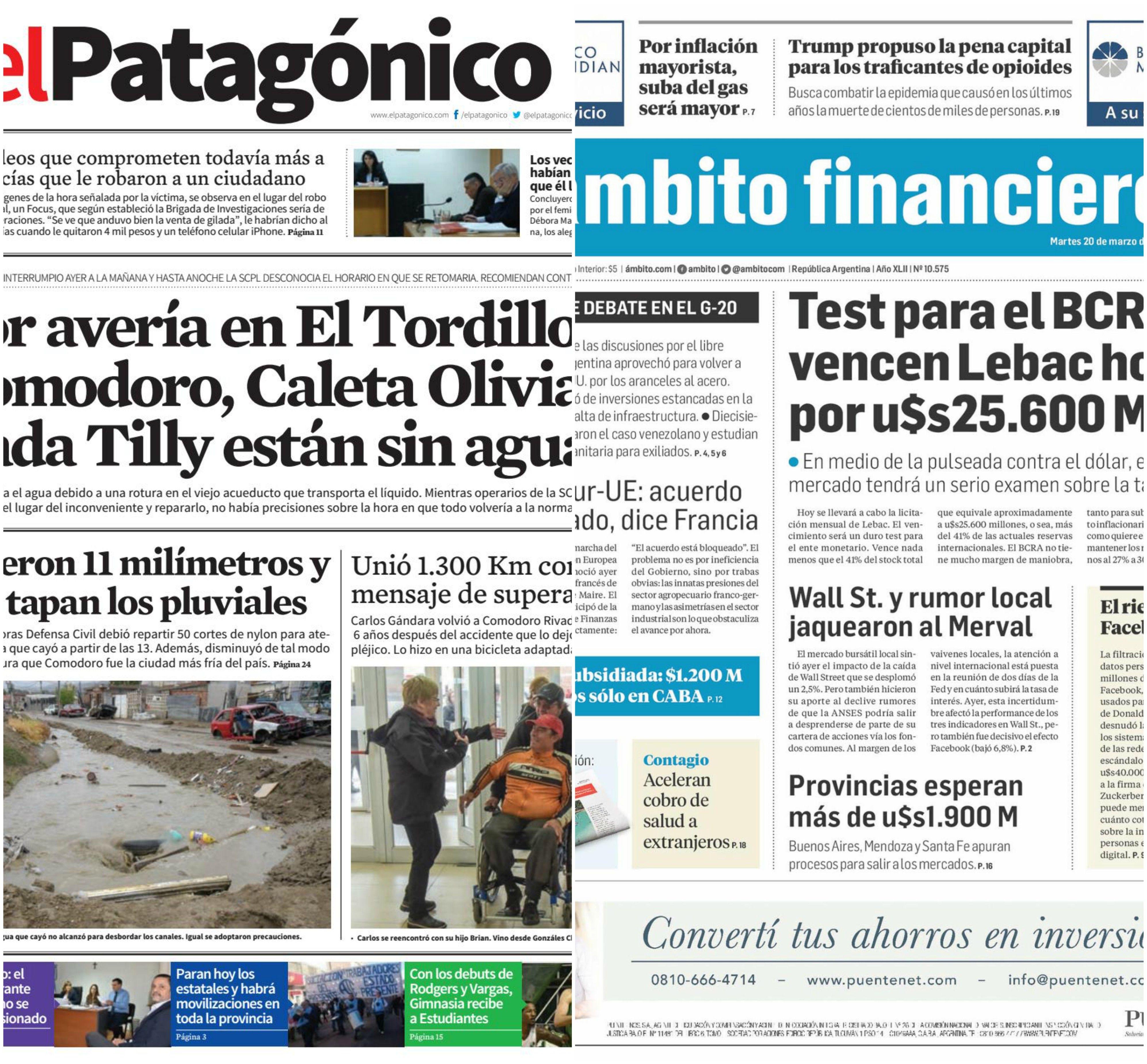 Tapas de diarios del martes 20 de marzo de 2018