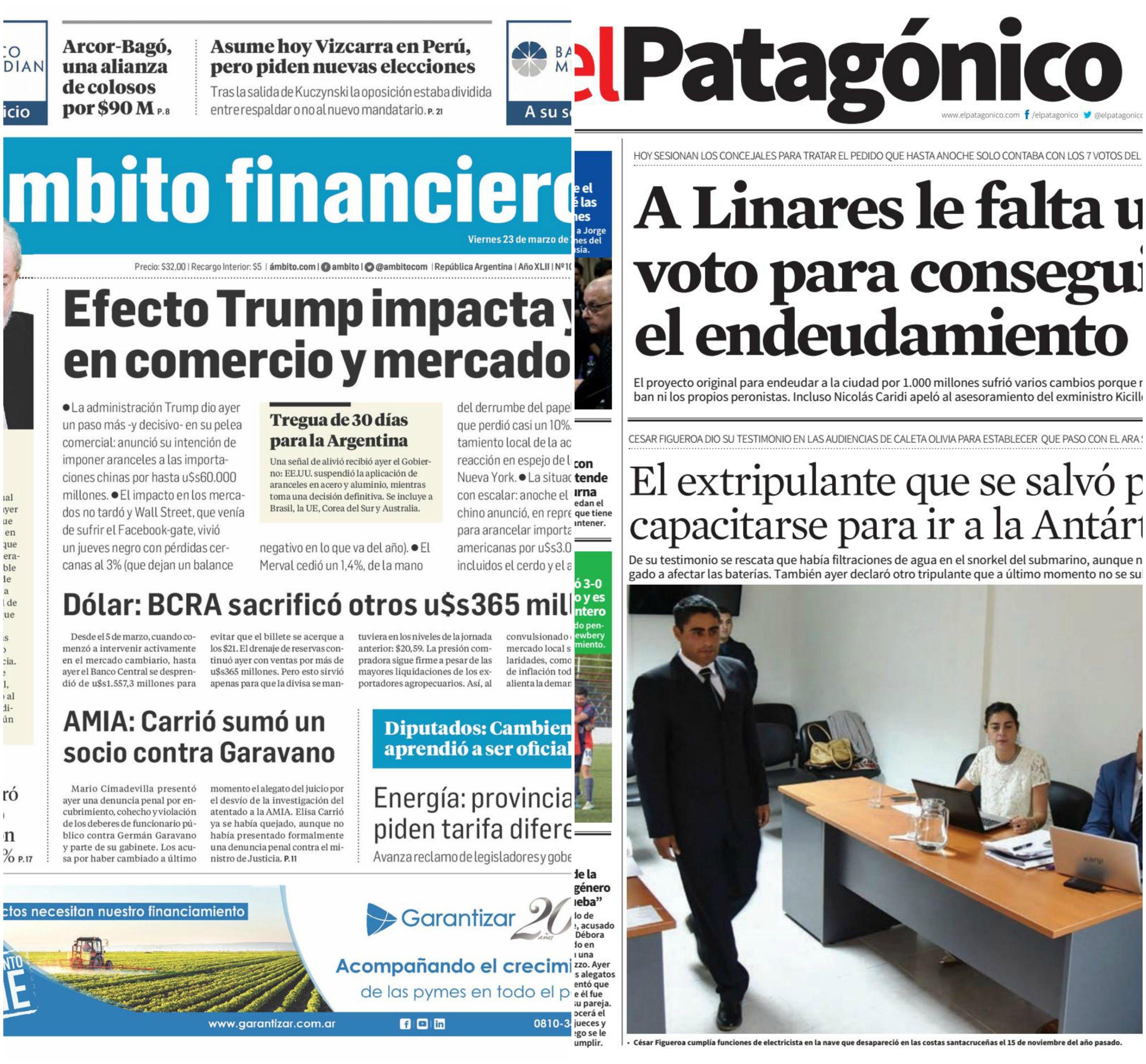 Tapas de diarios del viernes 23 de marzo de 2018