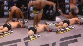 Festejo de Drew Chatman tras un nocaut en MMA