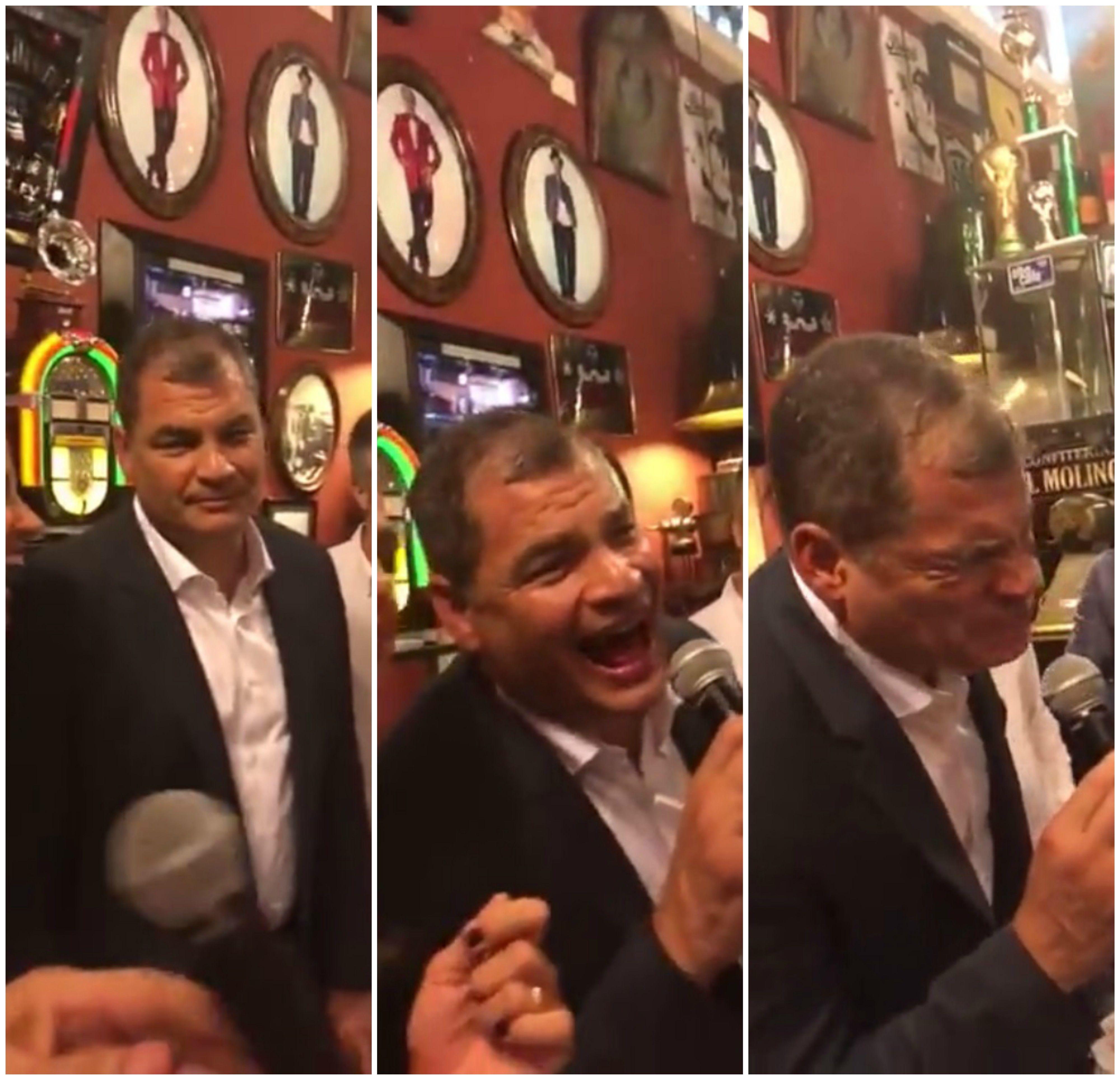 Rafael Correa cantando Hasta Siempre Comandante