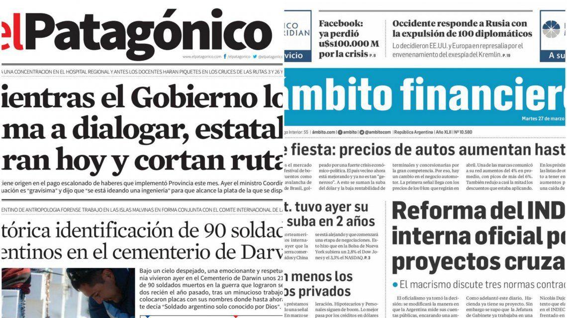 Tapas de diarios del martes 27 de marzo de 2018