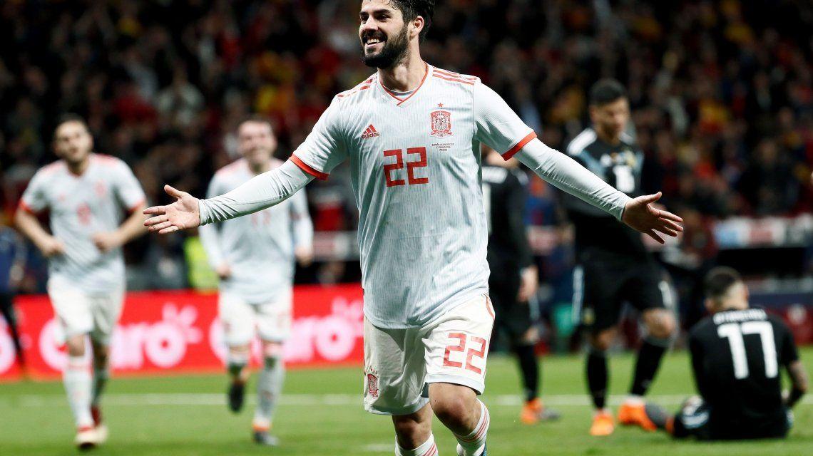 Duro baile: todos los goles del 6 a 1 de España a la Selección argentina