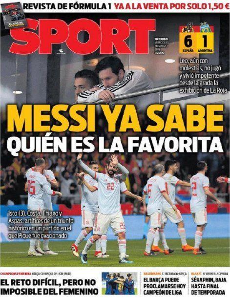 Sport, de Cataluña, focaliza en Messi<br>