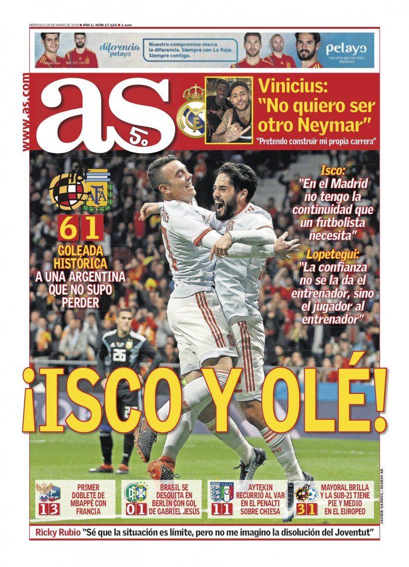 El madrileño AS remarca la excelente actuación de Isco