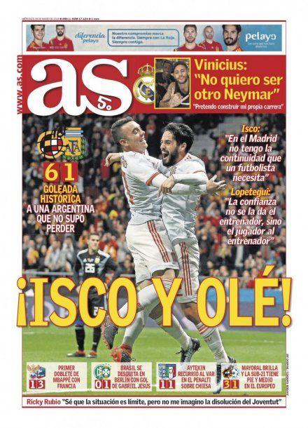El madrileño AS remarca la excelente actuación de Isco<br>