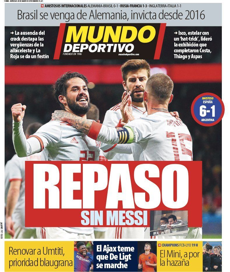 El otro diario de Barcelona también hace hincapié en Messi