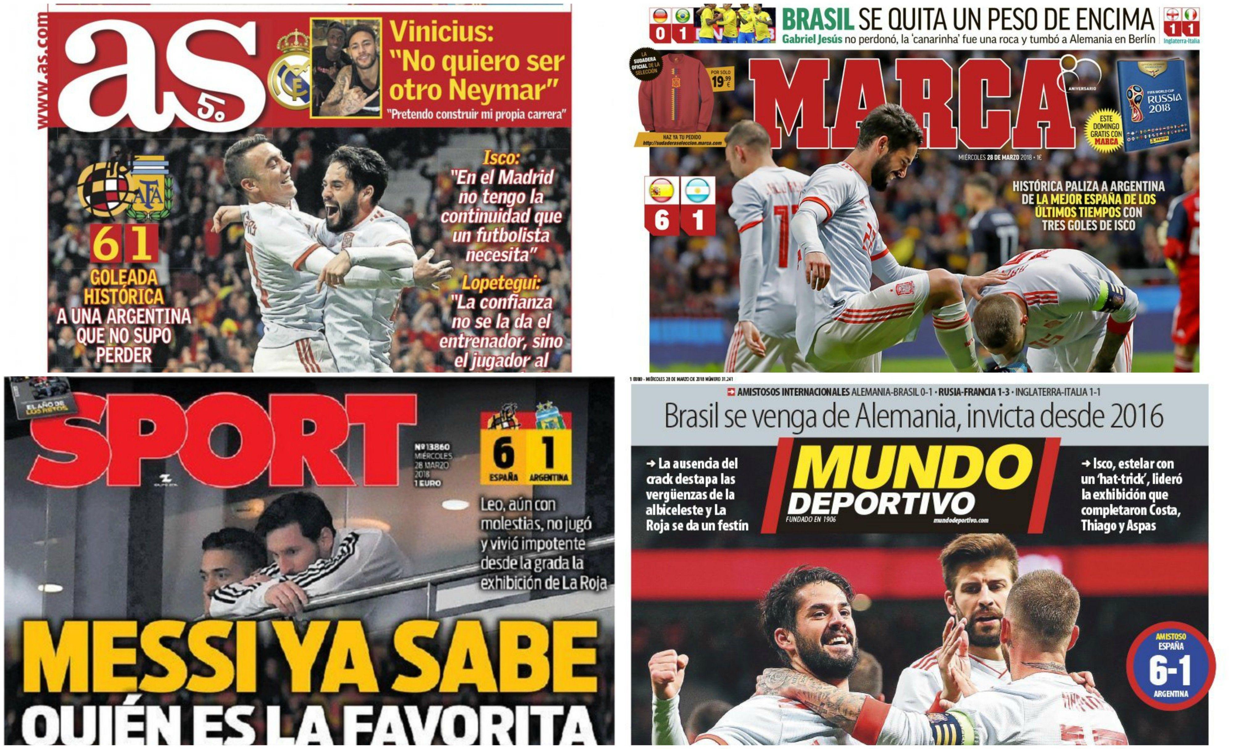 Tapas de diarios españoles del miércoles 28 de marzo de 2018