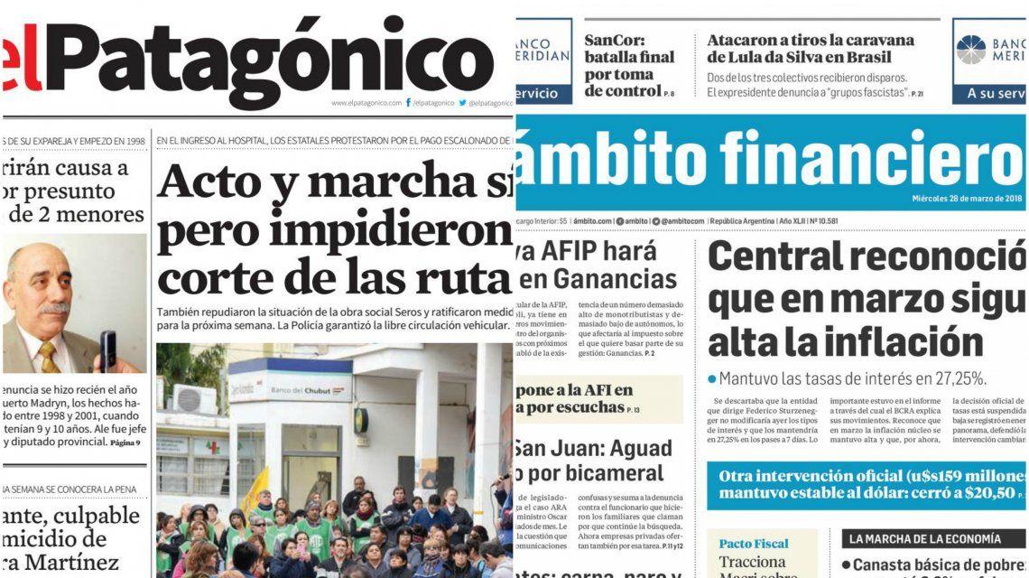 Tapas de diarios del miércoles 28 de marzo de 2018