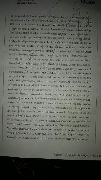 <p>La denuncia de Oscar Alvarez</p>