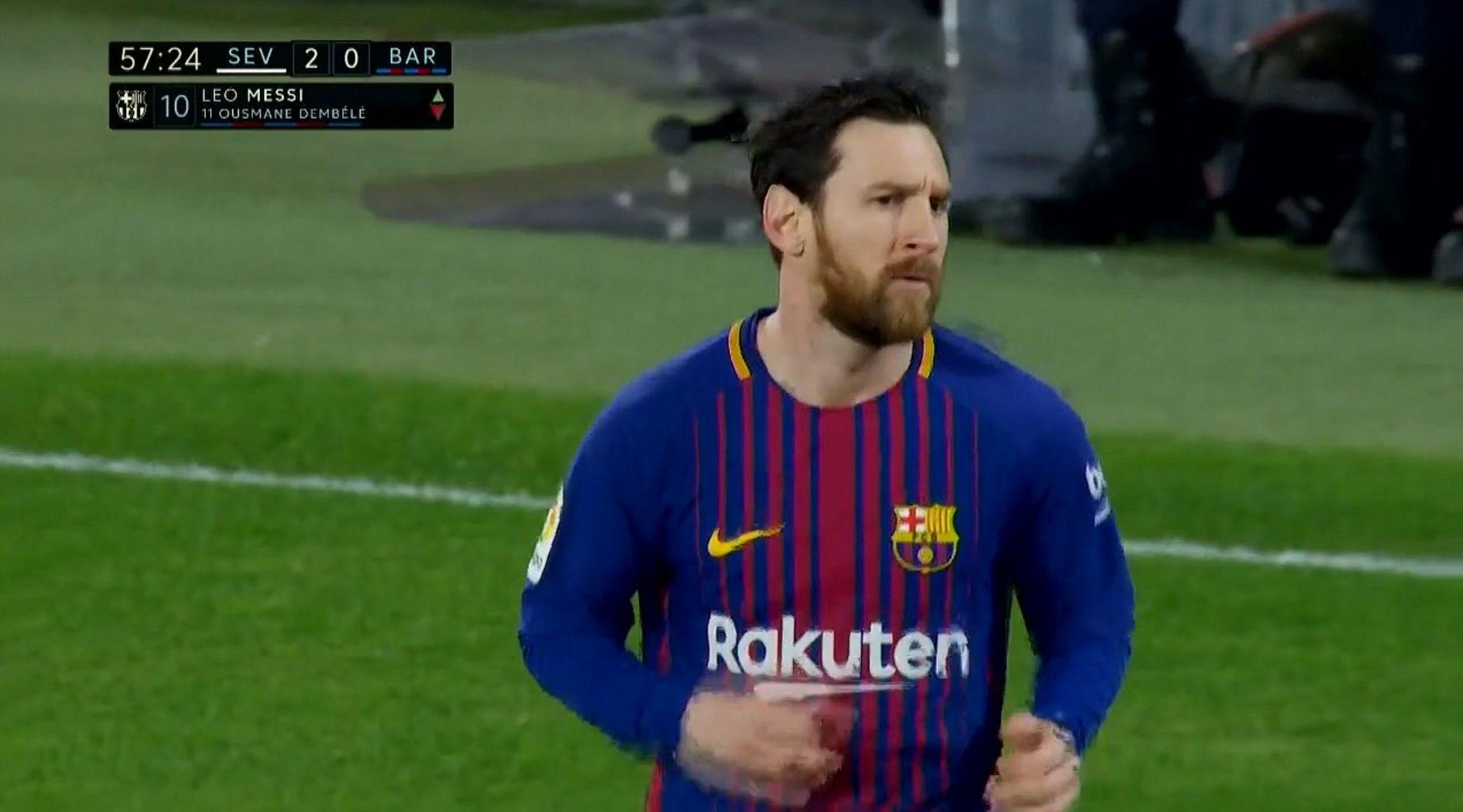 Messi entró en el segundo tiempo ante Sevilla