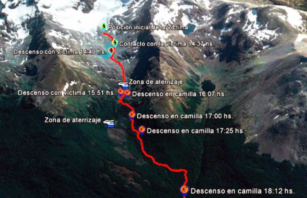Rescataron a dos turistas belgas y uno francés de una grieta en Ushuaia