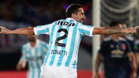Alejandro Donatti celebra el empate de Racing ante la U de Chile