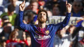 Lionel Messi celebra un gol para el Barcelona