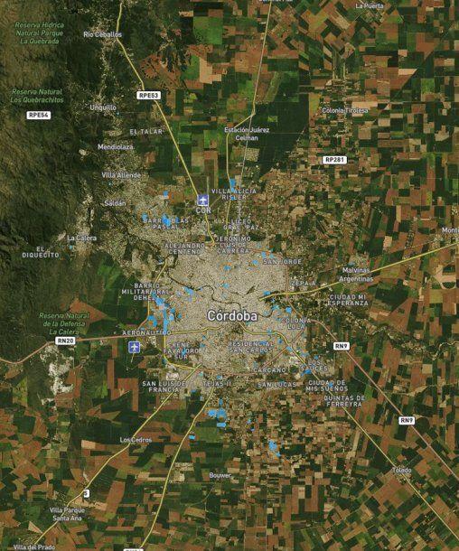 <p>En azul todos los asentamientos del Gran Córdoba. Fuente: Techo</p>