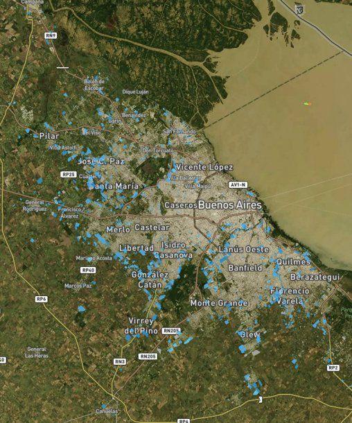 <p>En azul todos los asentamientos precarios en el Gran Buenos Aires. Fuente: Techo</p>