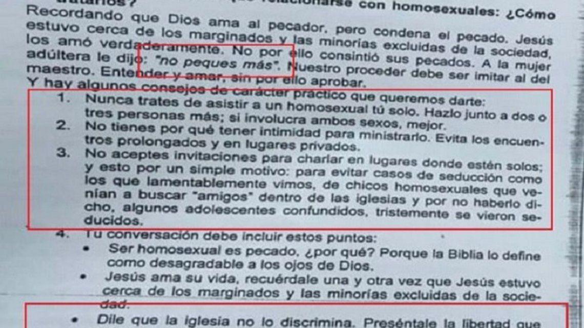 Polémica en Paraná: una escuela repartió una guía que considera una desviación a la homosexualidad