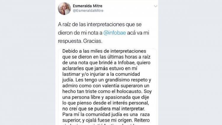 El posteo eliminado por Esmeralda Mitre
