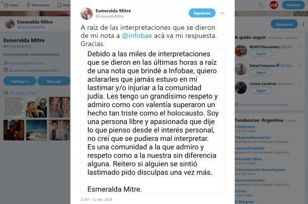 El comunicado final de Esmeralda Mitre<br>
