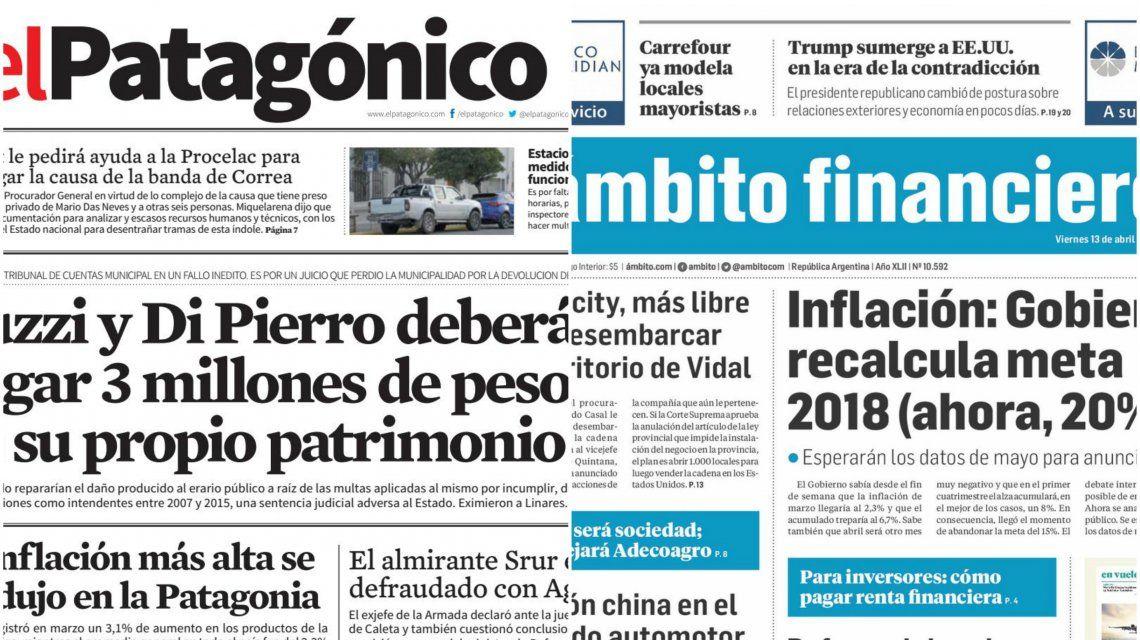 Tapas de diarios del viernes 13 de abril de 2018