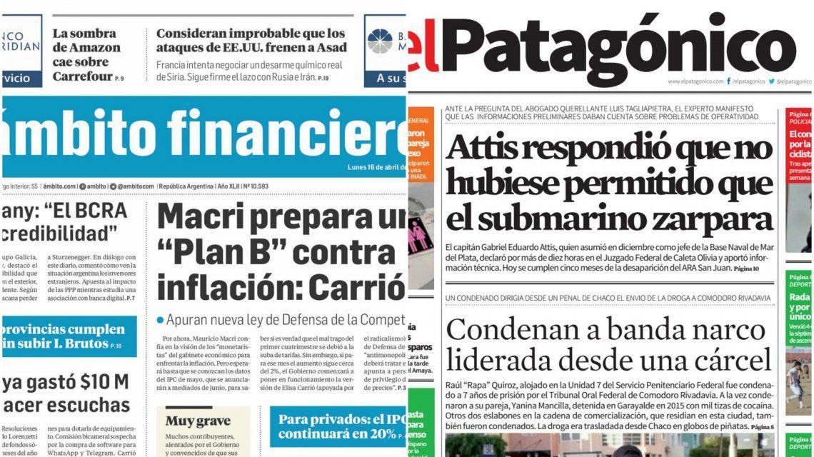 Tapas de diarios del lunes 16 de abril de 2018