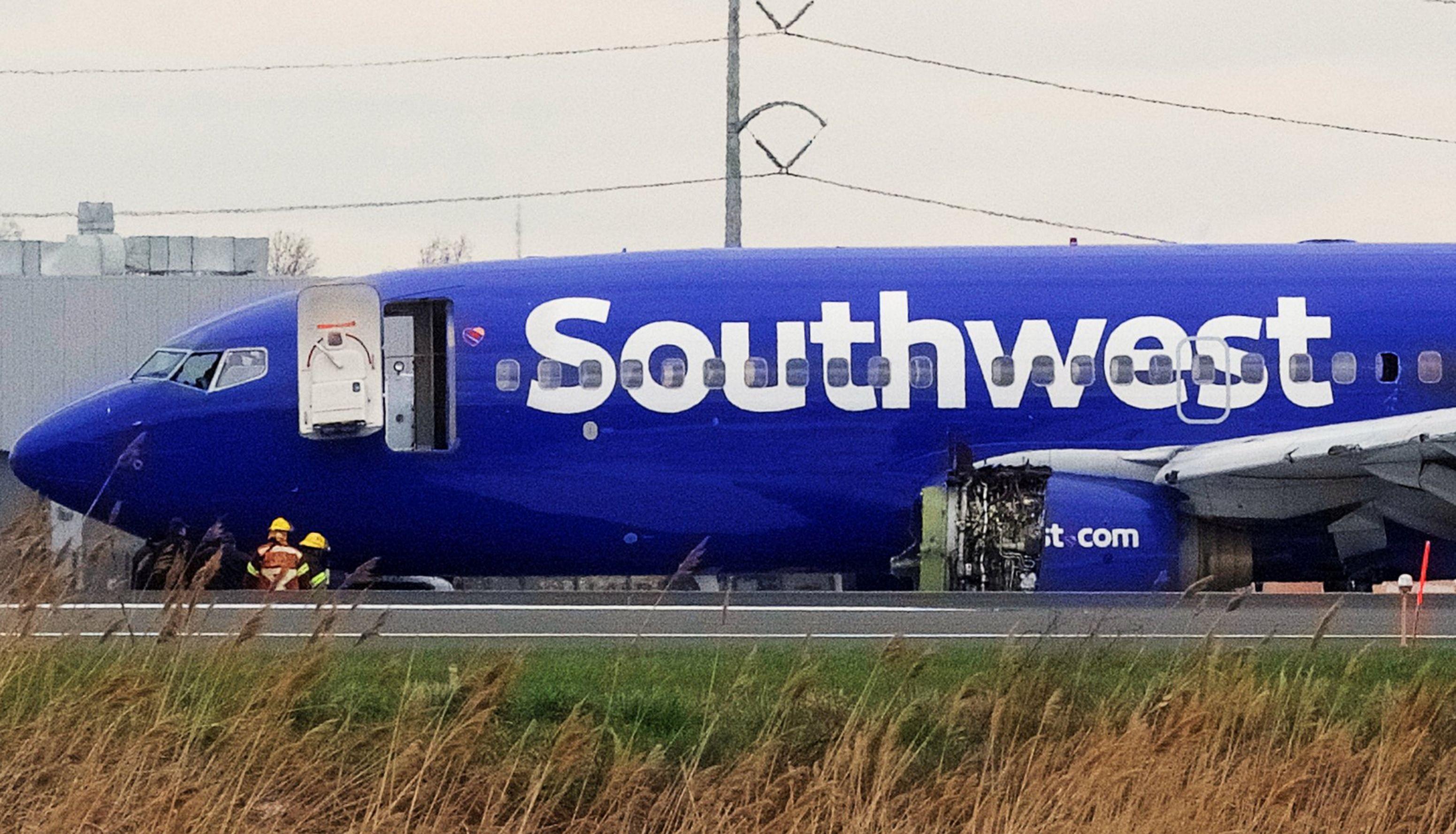 Así quedó el avión de Southwest Airlines tras el accidente
