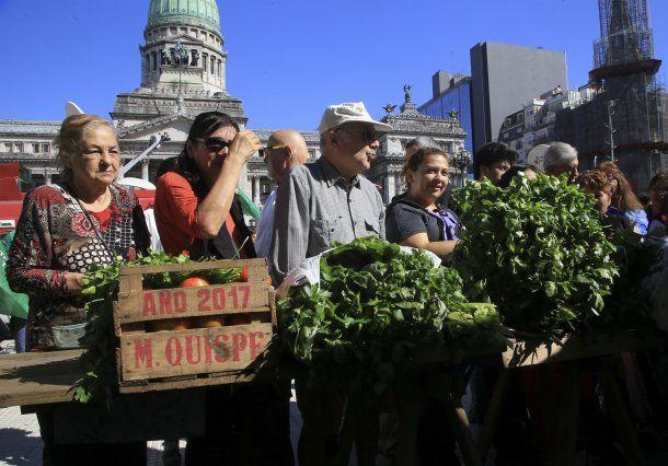 Cientos de personas buscaron las verduras que obsequiaban a modo de protesta en Plaza Congreso<br>