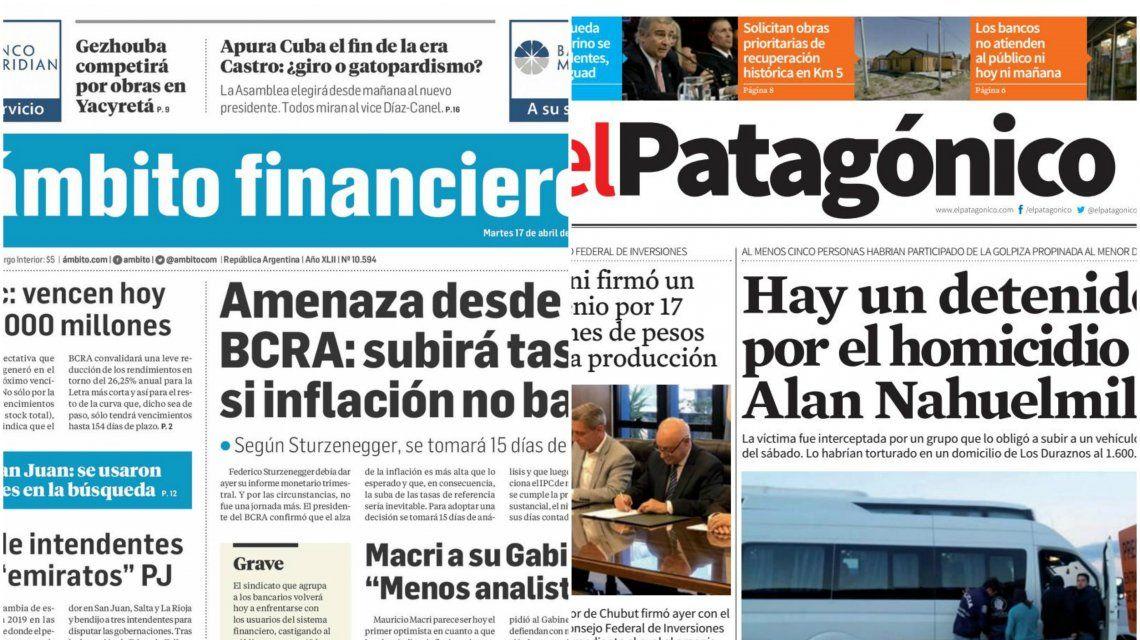 Tapas de diarios del miércoles 18 de abril de 2018