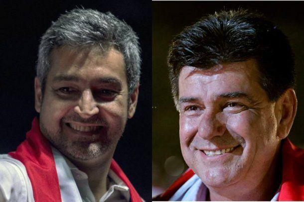 Los candidatos Mario Abdo Benítez y Efraín Alegre.