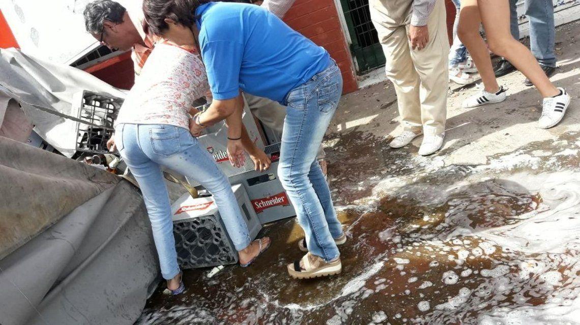 El camión de cerveza saqueado en pocos minutos en Salta