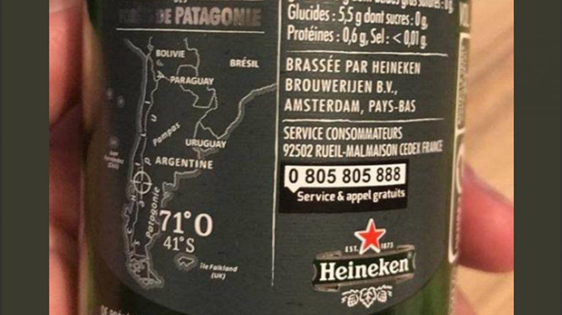Heineken puso que las Malvinas son británicas