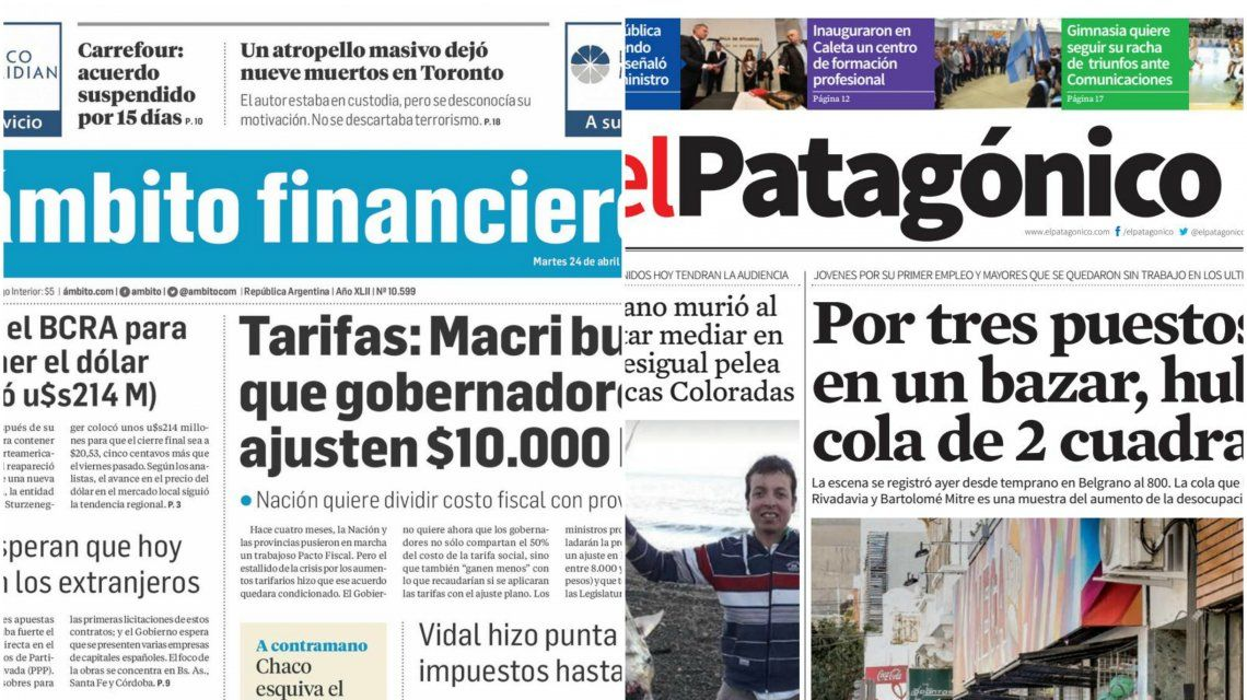 Tapas de diarios del martes 24 de abril de 2018
