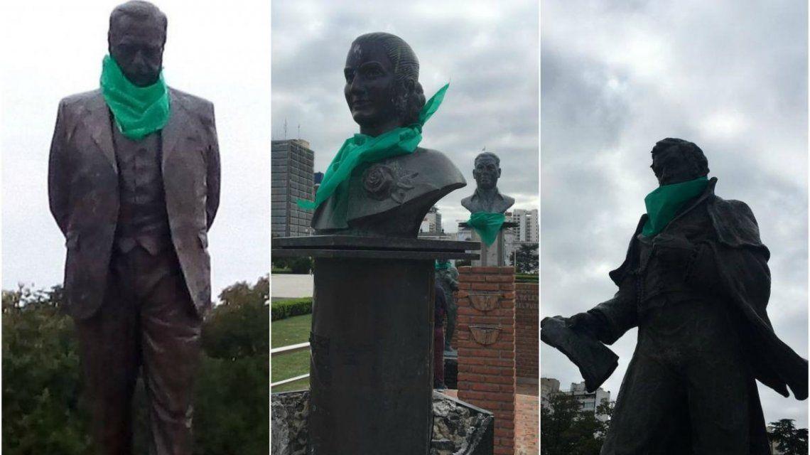 La Plata: Alfonsín, Evita, el Gauchito Gil y Mitre con pañuelos verdes a favor de la despenalización del aborto