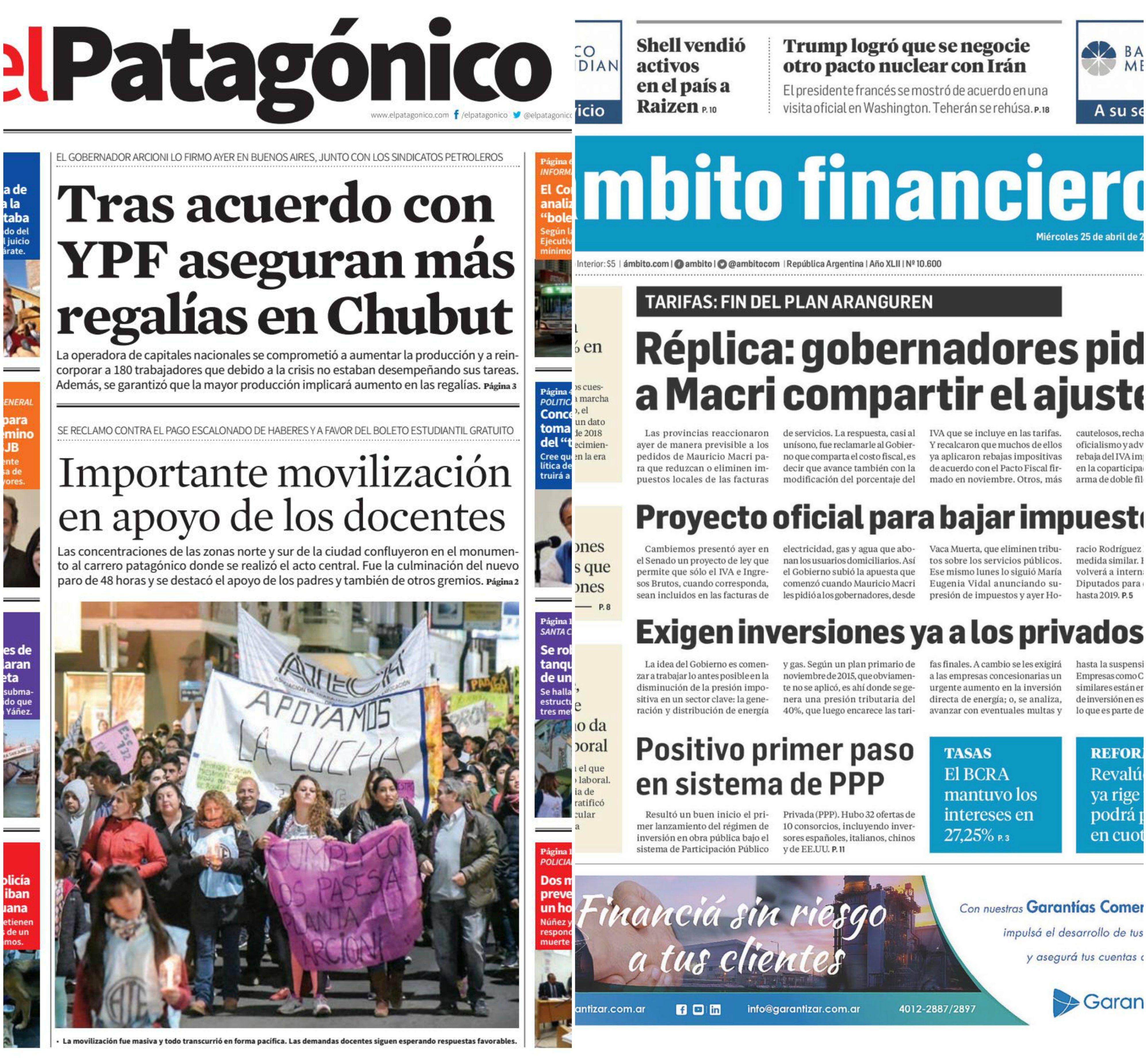 Tapas de diarios del miércoles 25 de abril de 2018