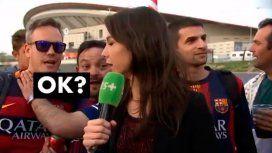 El pedido de una periodista francesa a un hincha del Barsa: No me toques