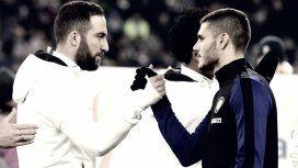 Mauro Icardi y Gonzalo Higuaín en Inter vs Juventus