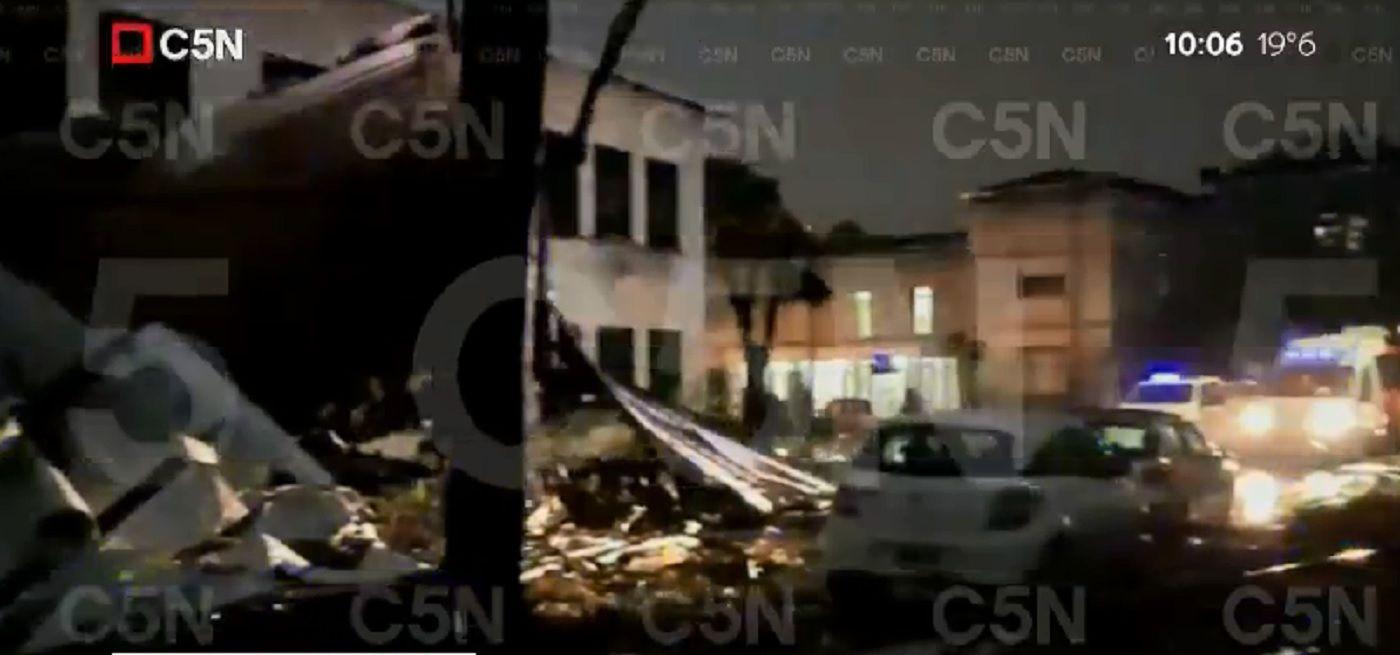 Devastador paso de la tormenta en Palomar: se derrumbó una escuela