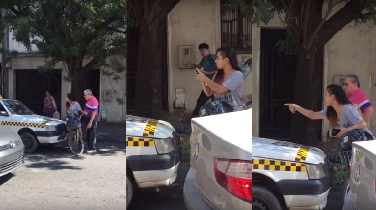 No dejó pasar a un taxista que la acosó hasta que le pidió disculpas