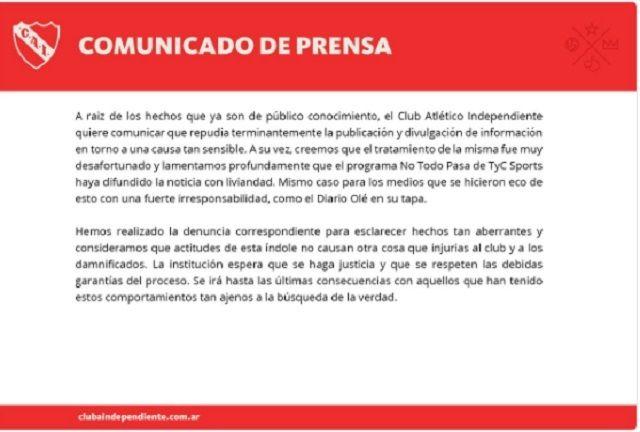 Independiente repudió la divulgación de nombres de dos jugadores que habrían sido víctimas de abuso
